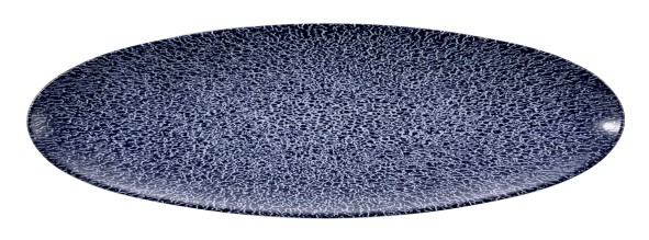 Life Molecule Denim Blue Servierplatte oval schmal 35x12cm